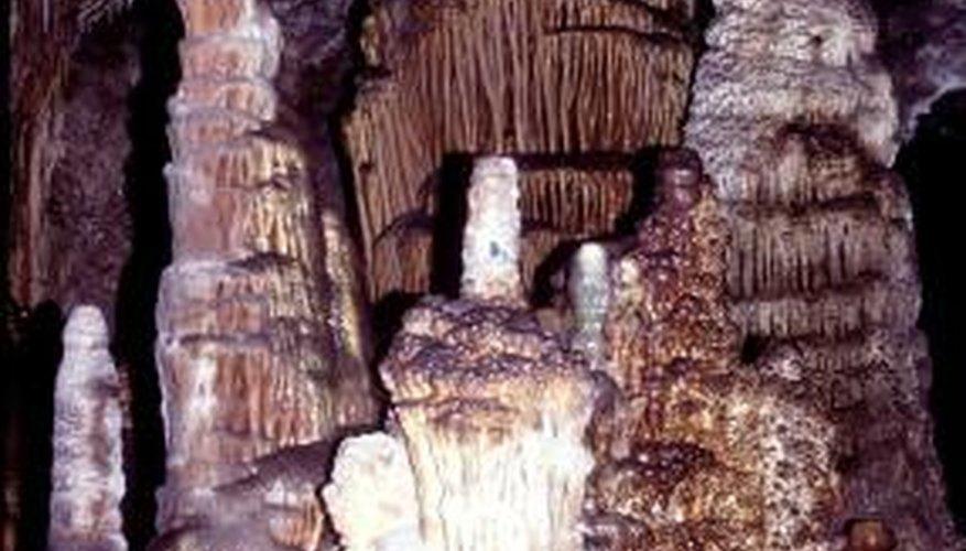 Limestone creates beautiful stalagmites in a cave environment.