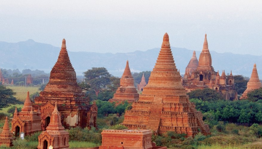 There are ancient Buddhist temples in Bagan, Myanmar