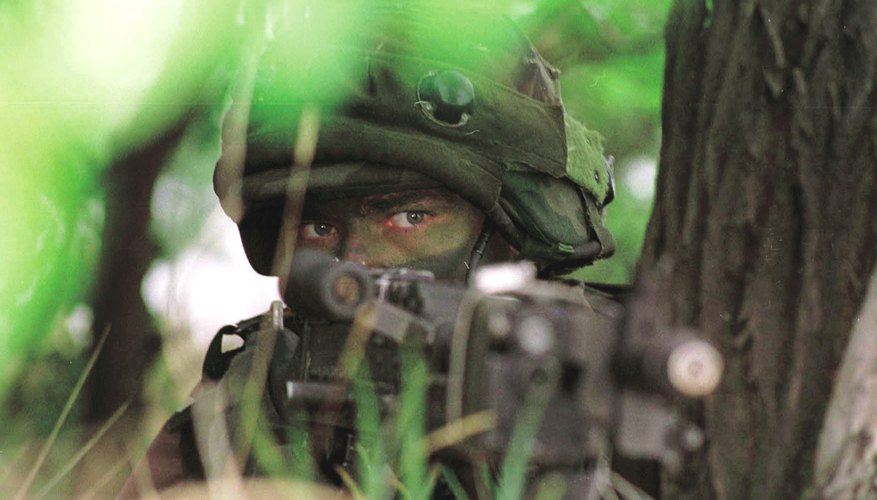 Army Ranger in camouflage during training