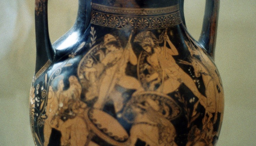 A vase depicts  hoplites in battle.