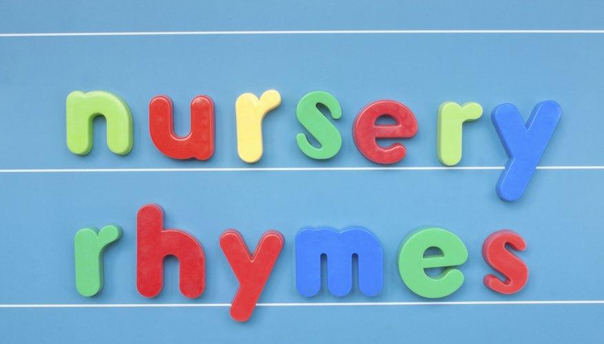 Nursery rhymes written in block letters