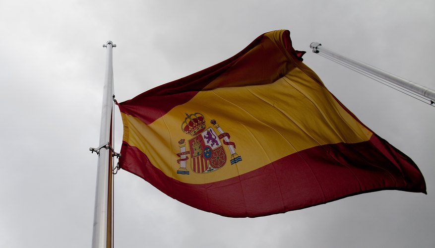 Spain's coat of arms appears on the Spanish national flag.