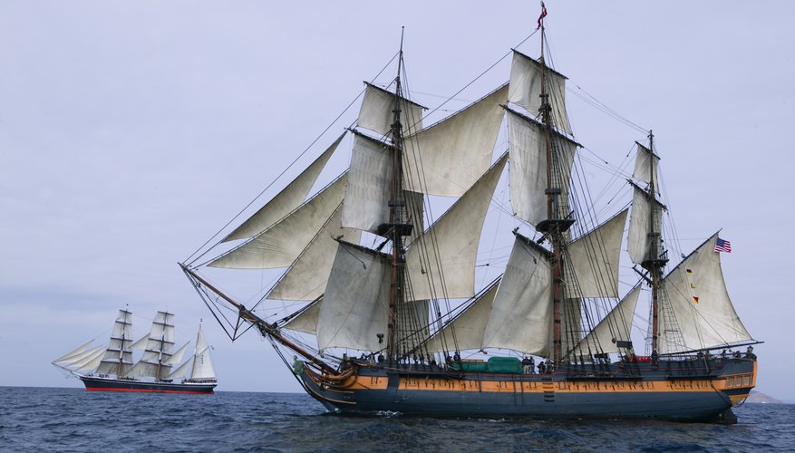 Tall ship with sails