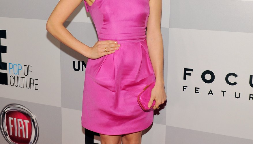 Actress Georgia King teams a fuchsia  frock with cobalt heels at a 2013 Golden Globes party in Beverly Hills.