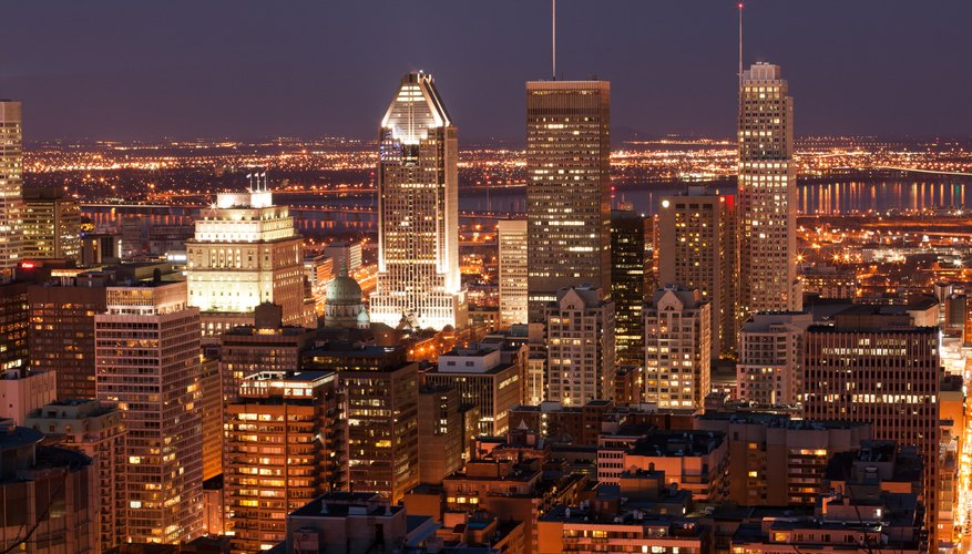 Downtown Montreal at night.