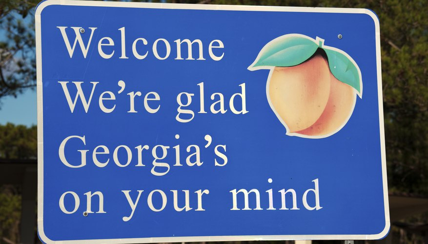 A Georgia state welcome sign alongside a highway
