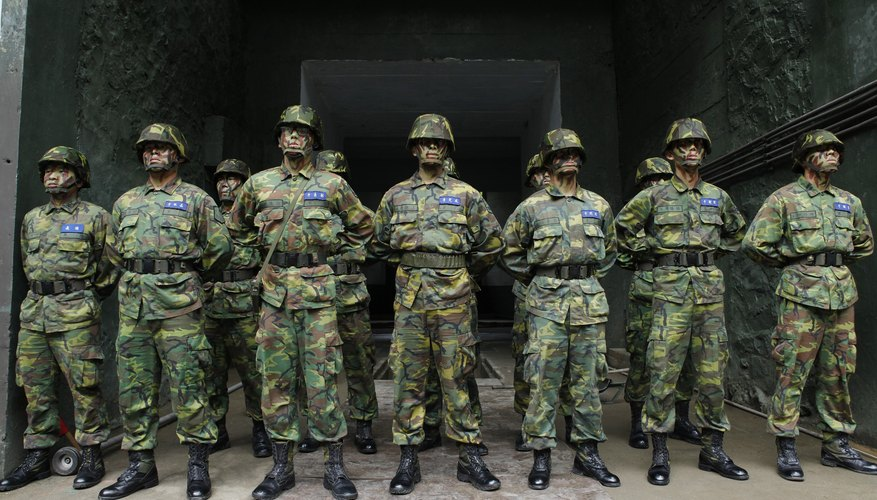 Army members standing in perfect formation during drill.
