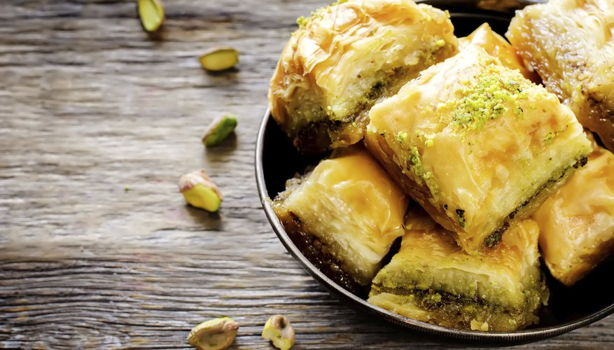 A plate of baklava.