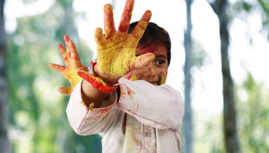 Preschool children learn about color through experimentation.