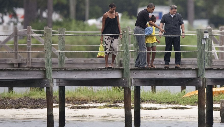 U.S. President Barack Obama, First Family and tour boat guide look at fish from pier in Panama City, FL.