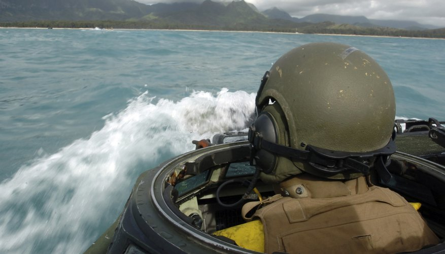 Marine Corps member in watercraft