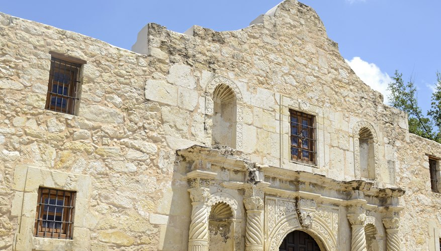Detail view of the facade on the Alamo