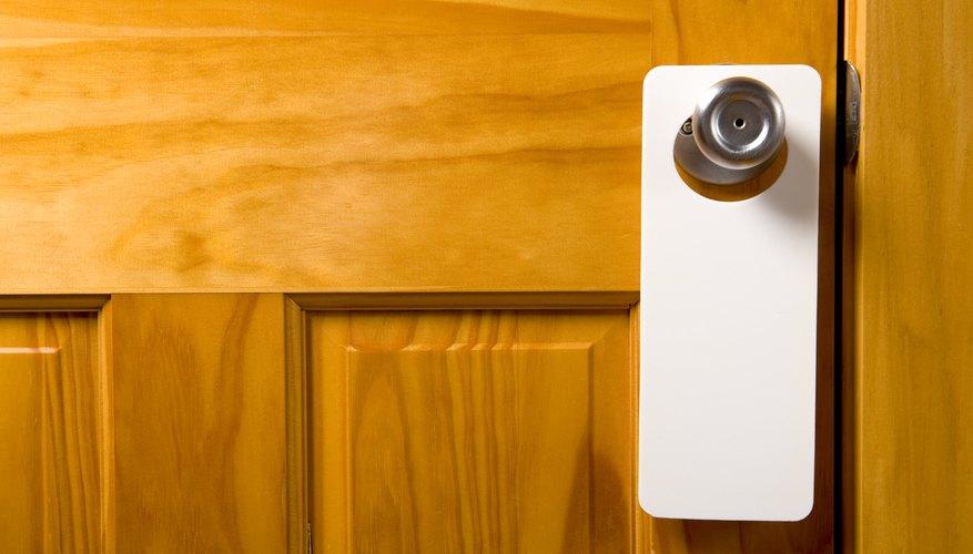 A blank door hanger.