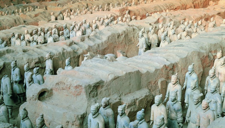 Terracotta warriors found in the tomb of an emperor follows the burial custom of equipping the deceased for the afterlife.