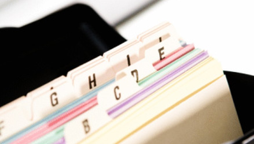 Card files can help keep your vocabulary words organized.