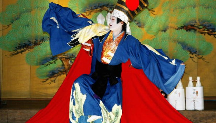Kabuki costumes are as colorful and stylized as the makeup.