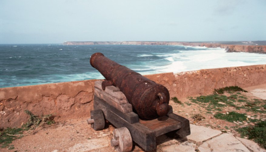 Cannons from different countries have different wheel supports.
