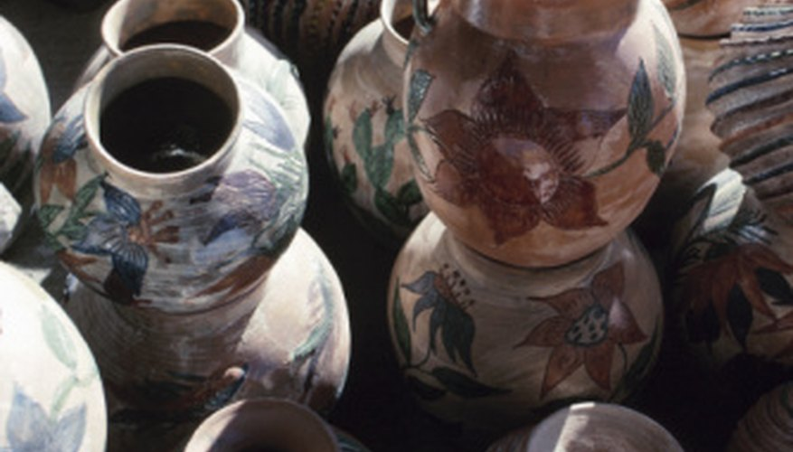 Examples of multicolored and textured pottery from Arizona.