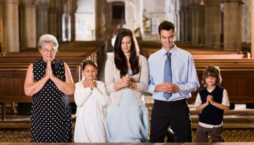 Family dressed appropriately for baptism.