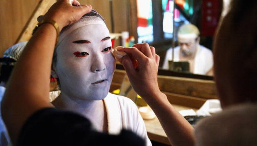 All Kabuki makeup begins with a thick layer of white.