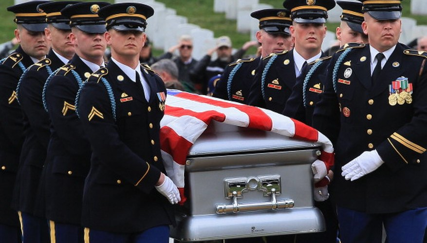 Saluting the passing casket is a way for service members to show respect.