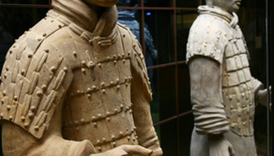 Molds were used to make the faces of the warriors, but each one was enhanced by hand.