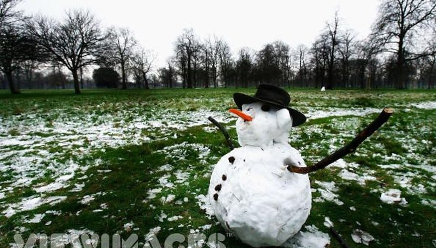Use green poster board to indicate that the snow around your snowman has melted, revealing the grass.