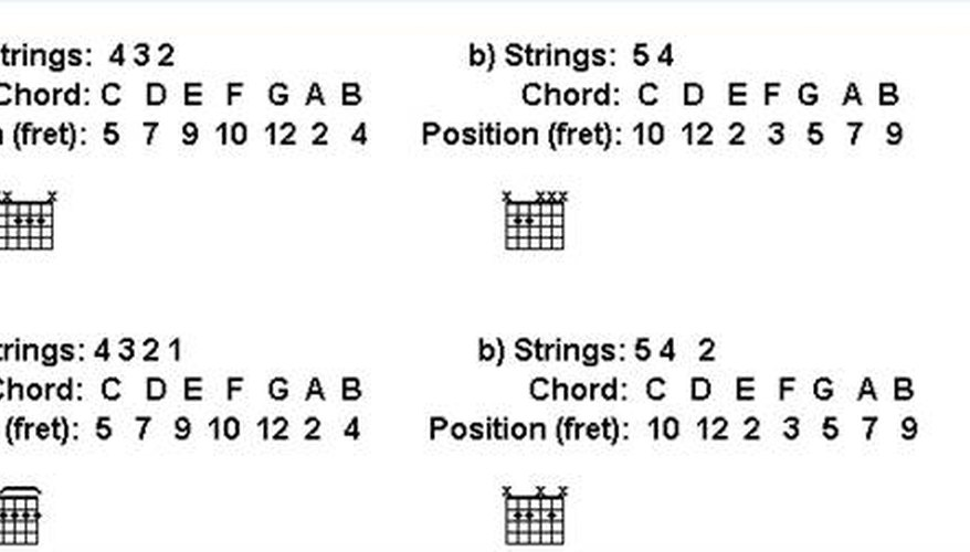 Illustrations of slide guitar chord shapes in standard tuning.