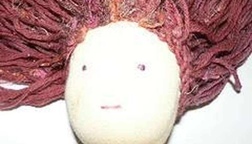 Completed Waldorf doll wig