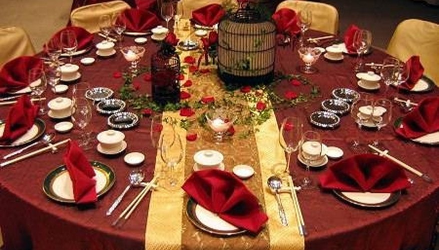 Red and Gold Table Setting
