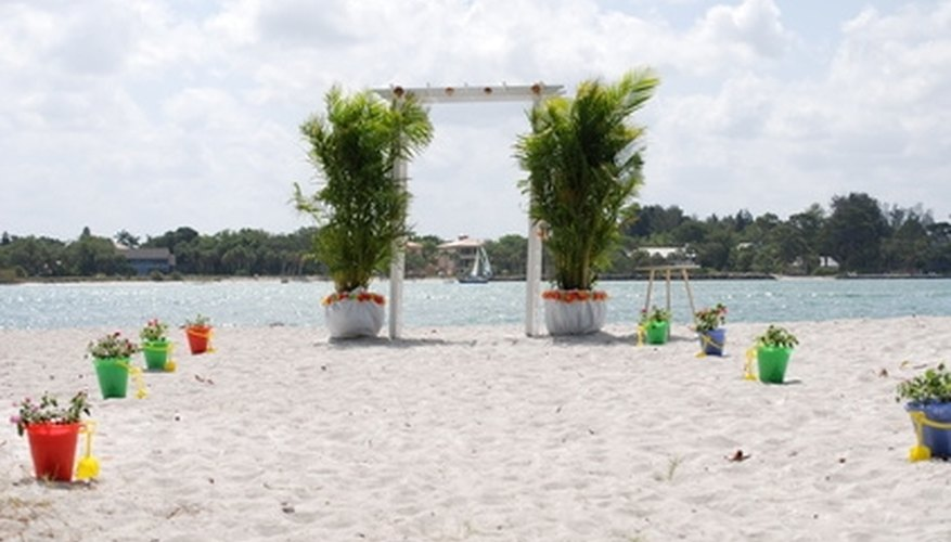 The beach is a popular location for a romantic wedding.