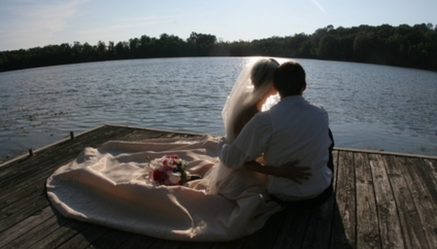 A lake is a serene and romantic wedding location.