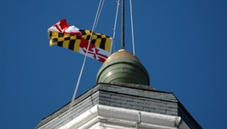 The Maryland State House dome, located in the capital city of Annapolis