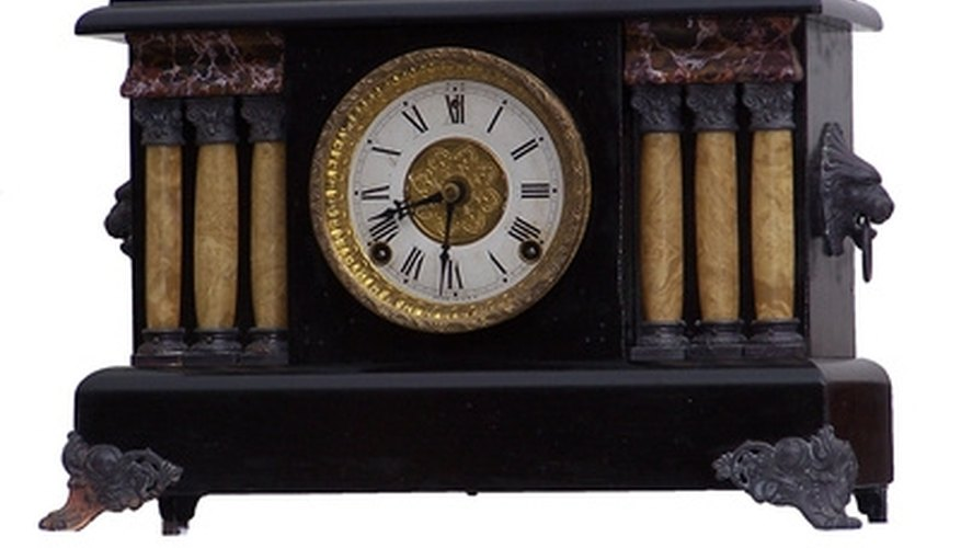 Antique mantle clock with chime mechanism