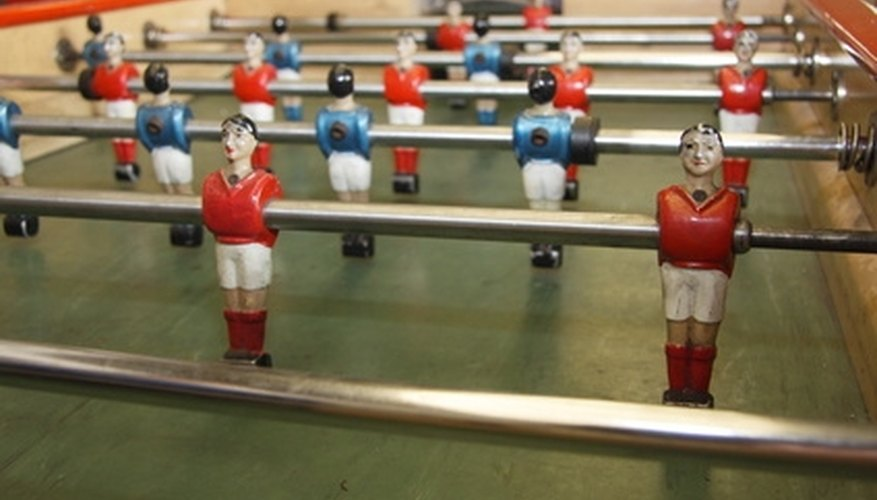 Foosball is a soccer table game played by two to four players.