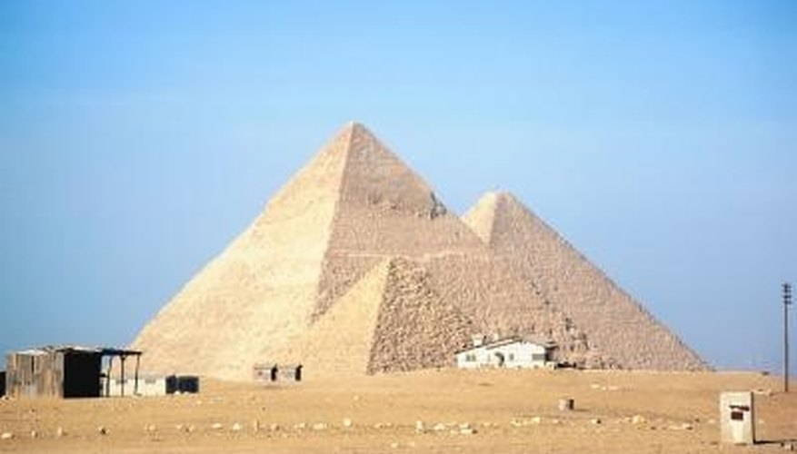 Pyramids are basic solid geometric shapes.