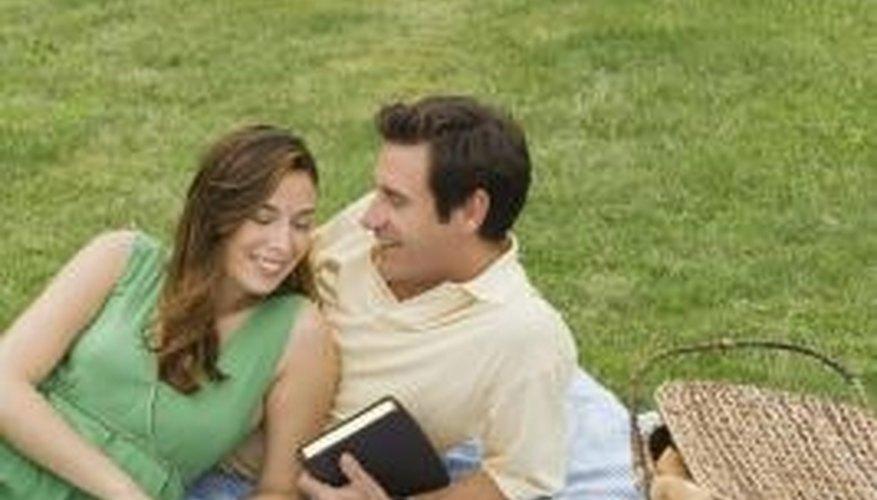 A couple enjoying a romantic picnic.