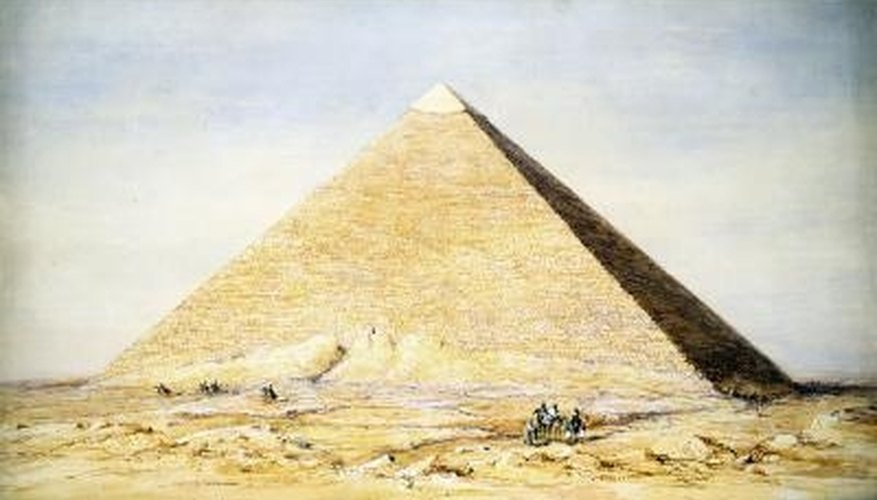 Rectangular pyramids are made up of a rectangular base and four triangles.