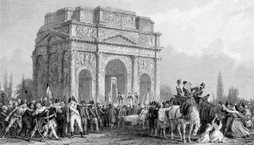 A scene from the French Revolution that includes a guillotine.