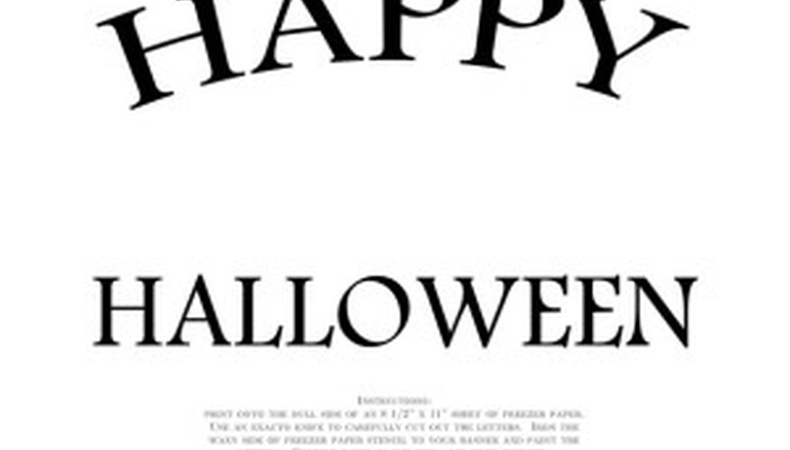 download the happy halloween pdf here and print it onto the dull side of your freezer paper sheets it looks like this