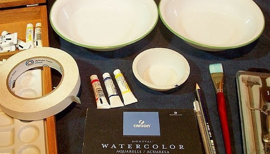 Watercolor supplies for Flat Wash project