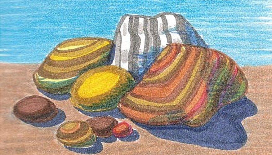 Rocks in color, brush pen drawing.