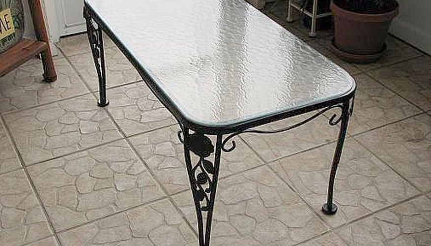 The repainted metal table looks like new.