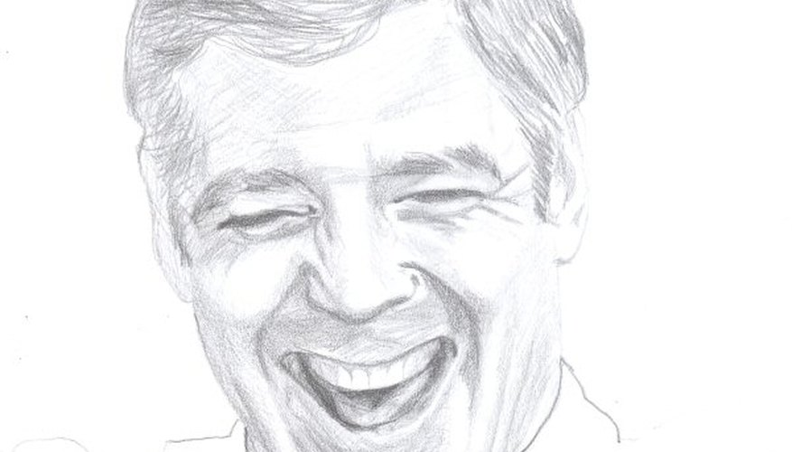 The drawing of George Clooney's facial expression with shading and hair filled in