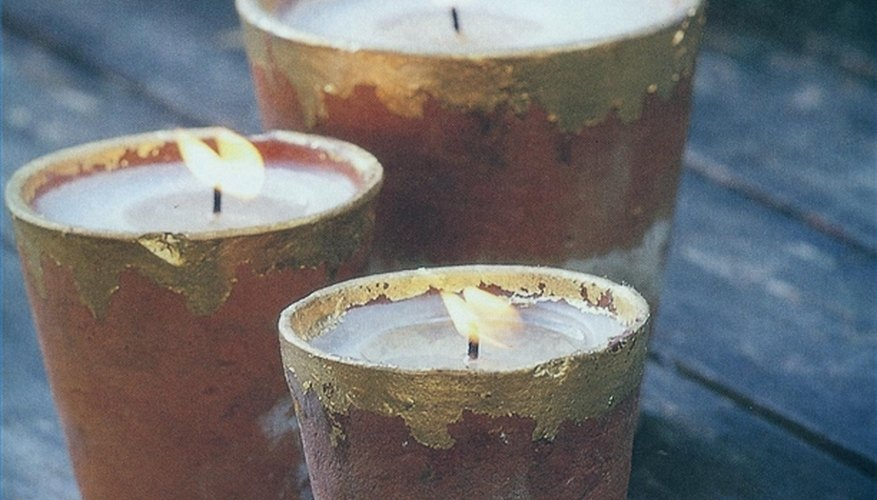 Candle pots add an element of rustic glamor.