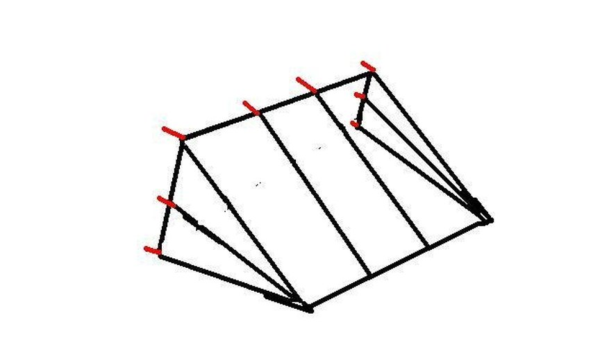 Red marks are locations for connecting the frame onto the wall with screws.