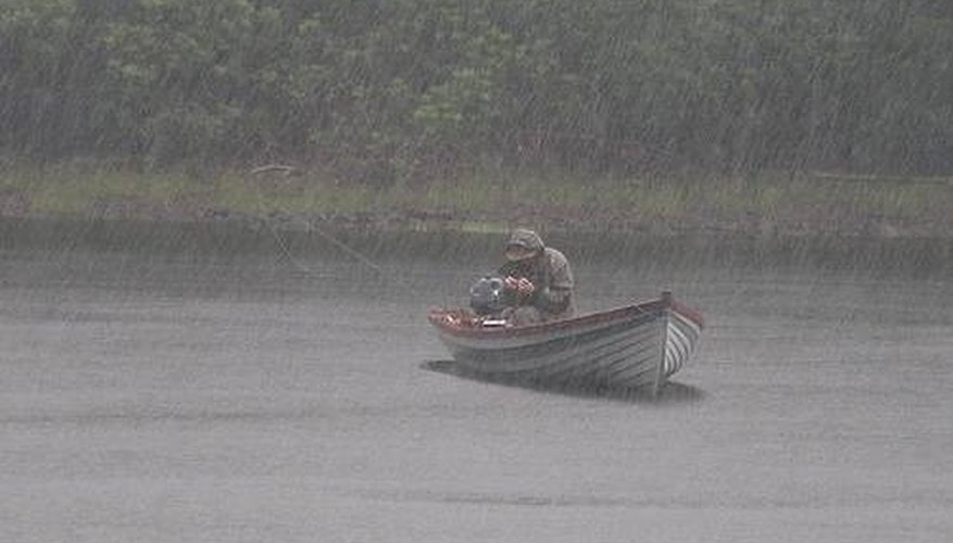 Fishing in rainy weather