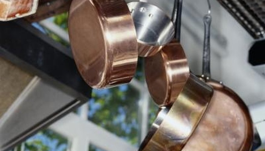 Shiny, clean copper pots and pans are as decorative as they are useful.