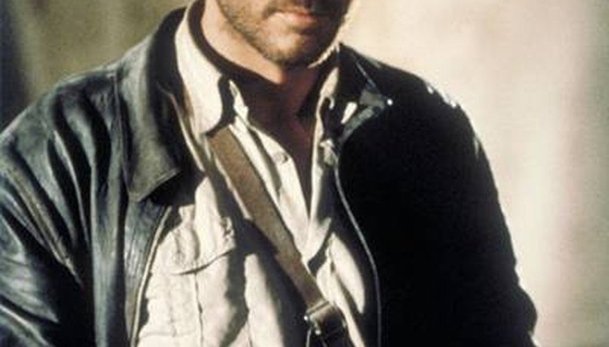 Costume designer Deborah Nadoolman aged Harrison Ford's new jacket to make it look old.