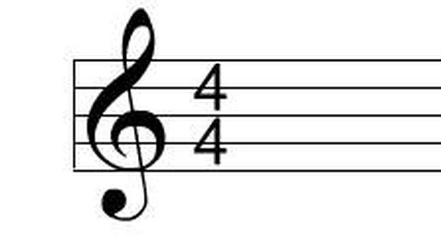 The treble clef and the 4/4 time signature